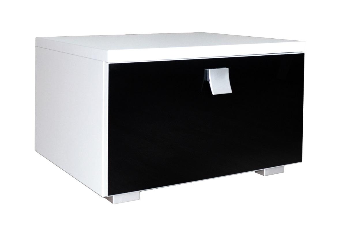 Noční stolek AGARIO, bílá/fialová lesk