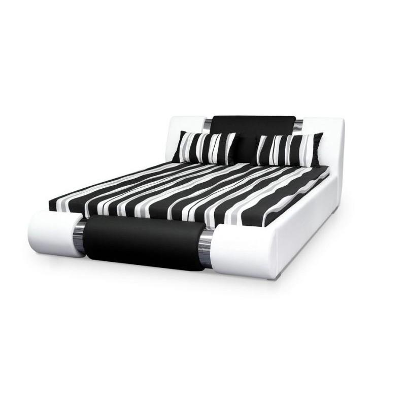 Čalouněná postel AGARIO II, 140x200, střed: D8 (černá)/ boky: D9 (vínová)
