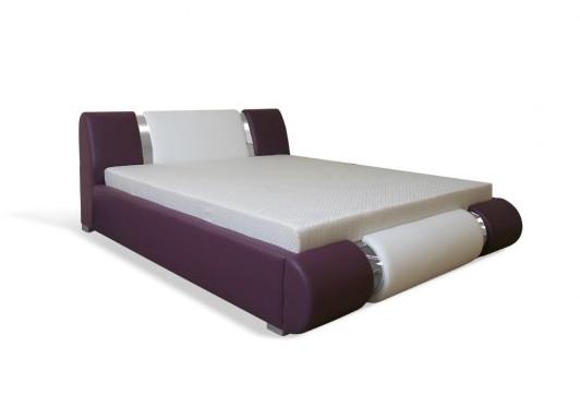Čalouněná postel AGARIO II, 160x200, střed: D44 (šedá)/ boky: D502 (fialová)