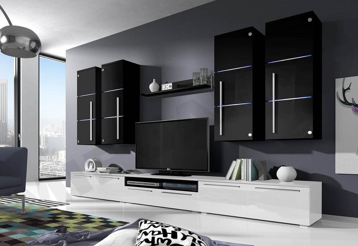 Obývací stěna LOBO, horní skříňky: černé, spodní skříňky: bílé
