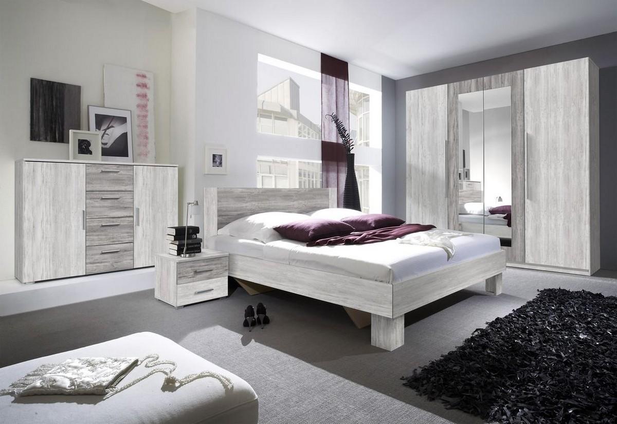 Ložnicová sestava ERA - skříň (20), postel 160+2x noční stolek(51), komoda (26), borovice artic světlá/borovice artic tmavá