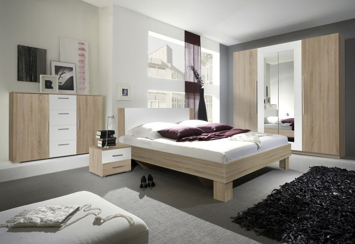 Ložnicová sestava ERA - skříň (20), postel 180 + 2x noční stolek (52), komoda (26), dub sonoma/bílý