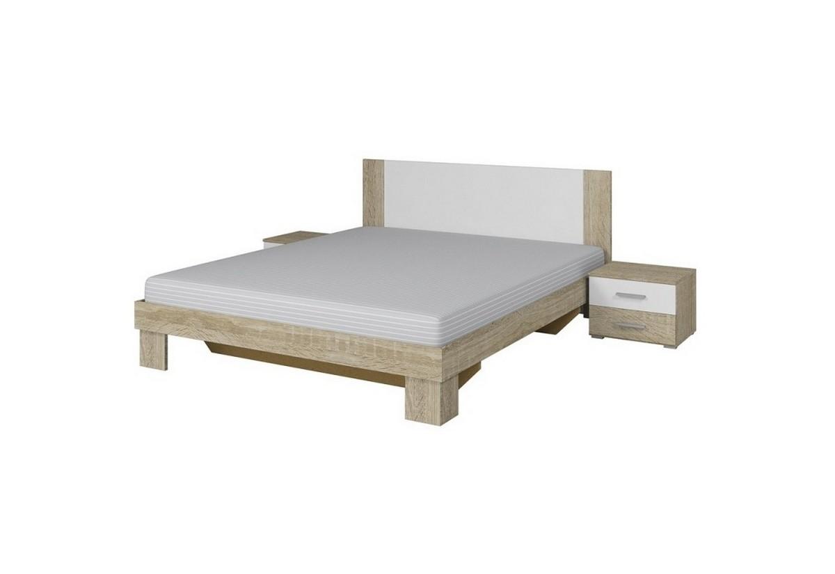 Postel ERA 180 x 200 + 2 noční stolky (52), dub sonoma/bílý