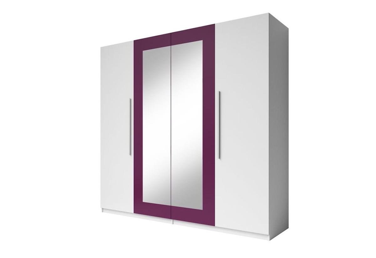 Šatní skříň se zrcadlem ERA (20), bílá/lila