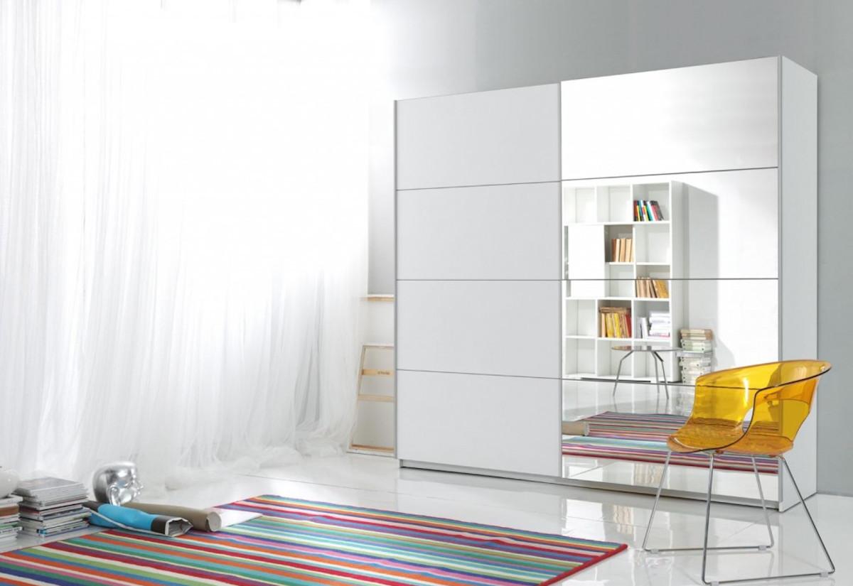 Posuvná skříň DELTA I (57) 200 + zrcadlo, SYSTÉM TICH.ZAV, Bílá/bílá