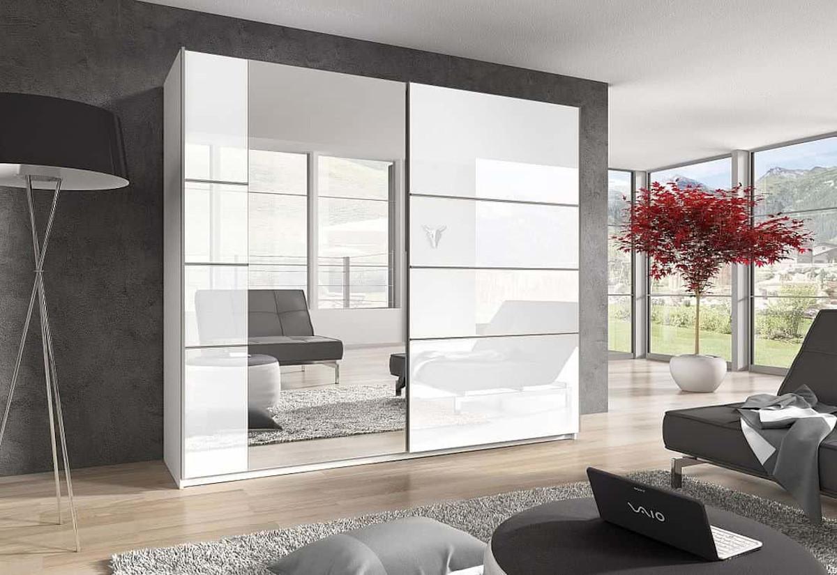 Posuvná skříň DELTA II (56), 180 + zrcadlo, bílá/bílá lesk-zrcadlo