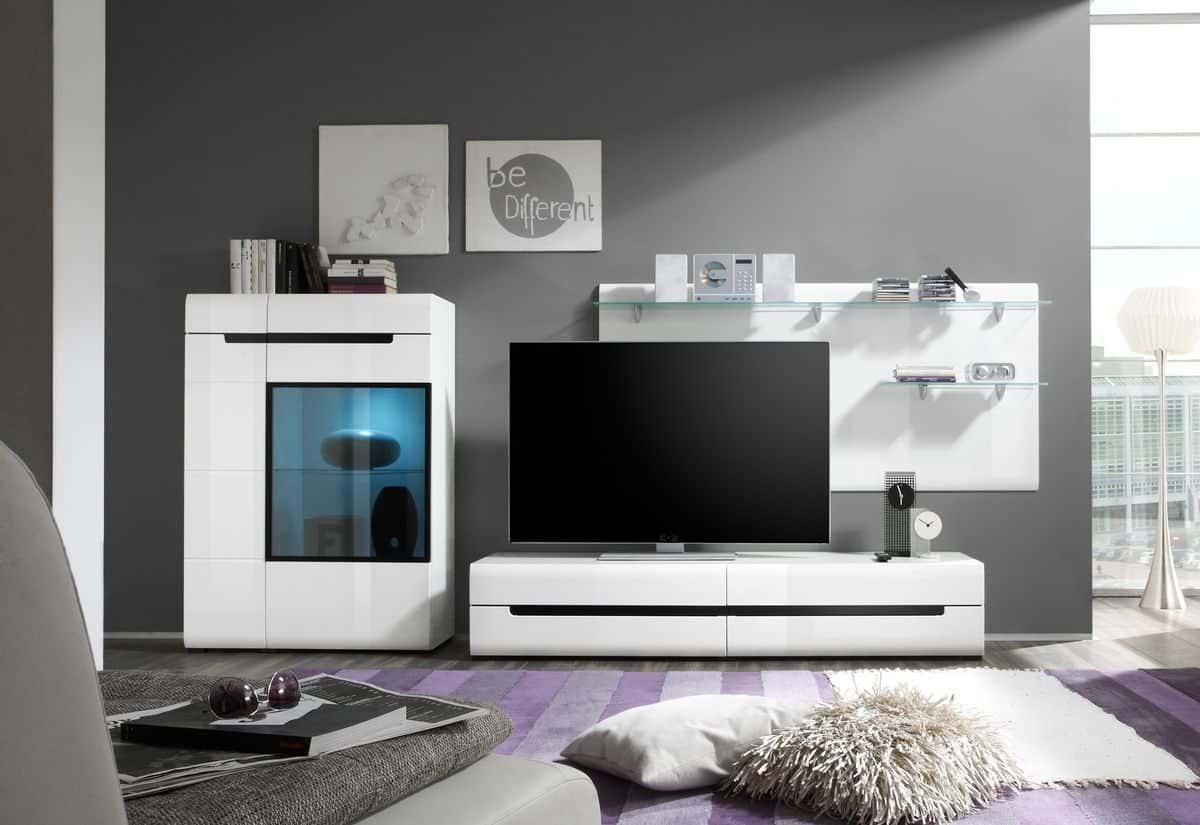 Obývací stěna ROTHEK - D III - H 09 + LED osvětlení - TV komoda (40), komoda (44), polička (03), bílá/bílá lesk