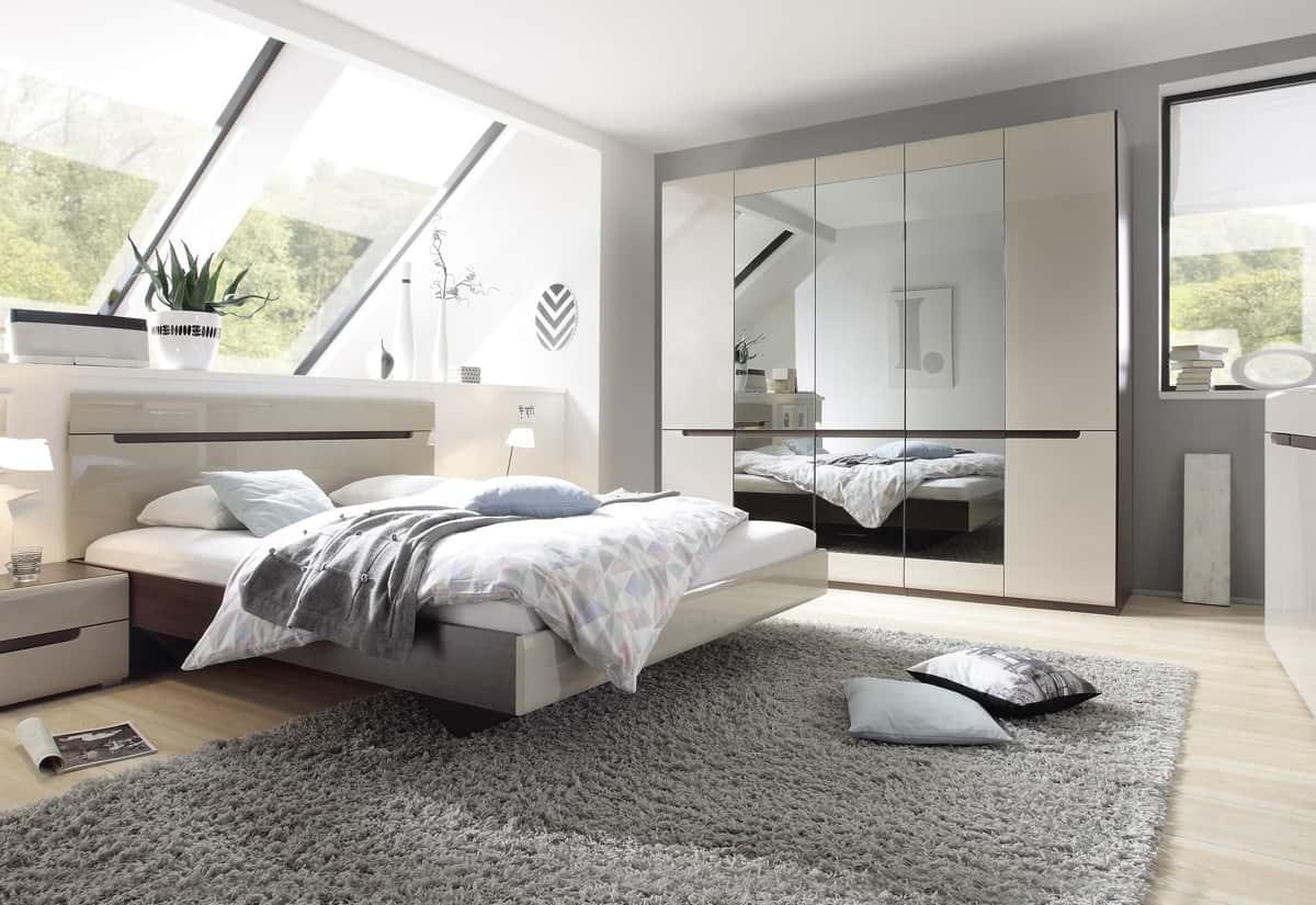 Ložnicová sestava ROTHEK - D - skříň (20), postel 160(31), 2x noční stolek(22), komoda(43), dub sonoma tmavý/kašmír lesk