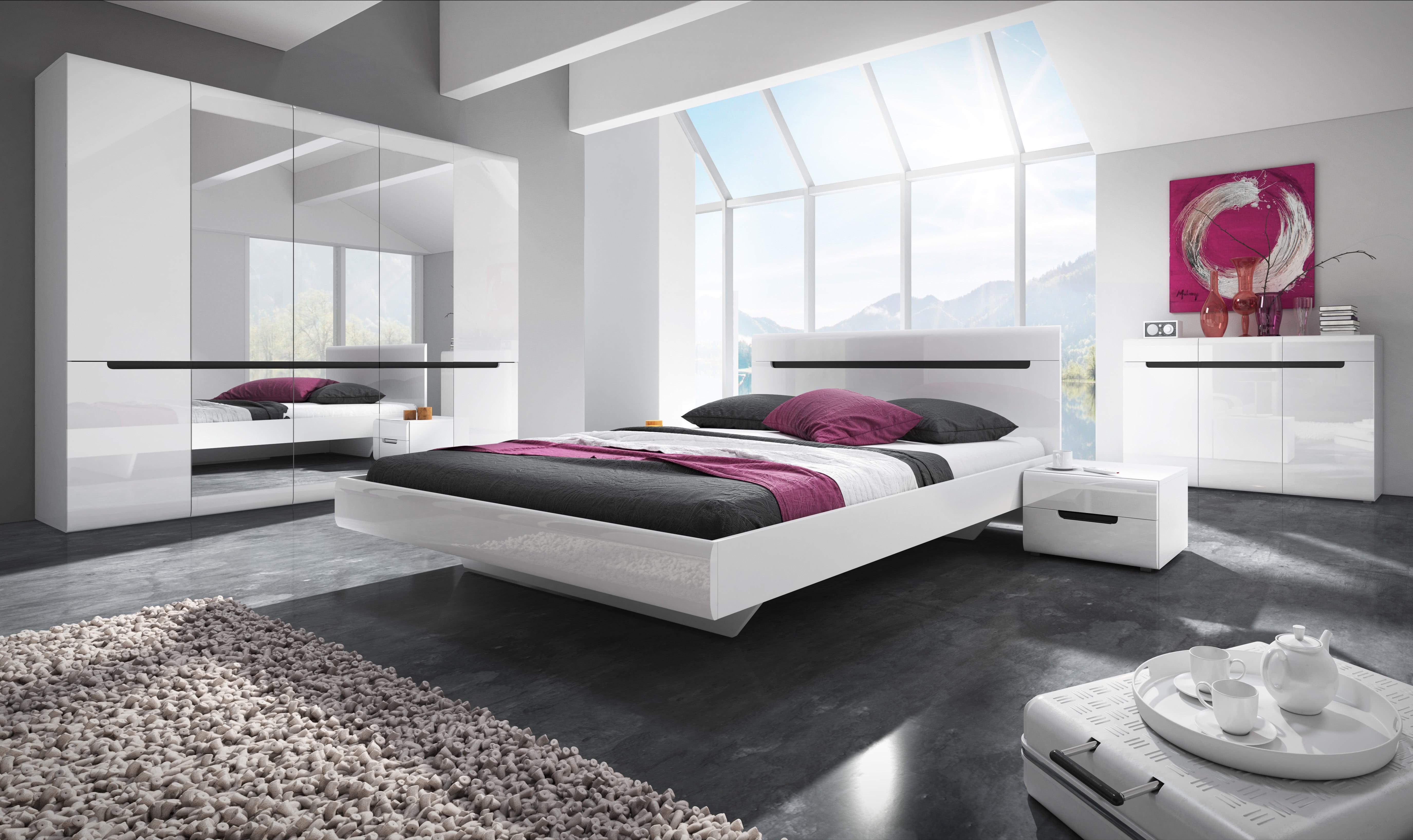 Ložnicová sestava ROTHEK - D - skříň (20), postel 180(32), 2x noční stolek(22), komoda(43), bílá/bílý lesk