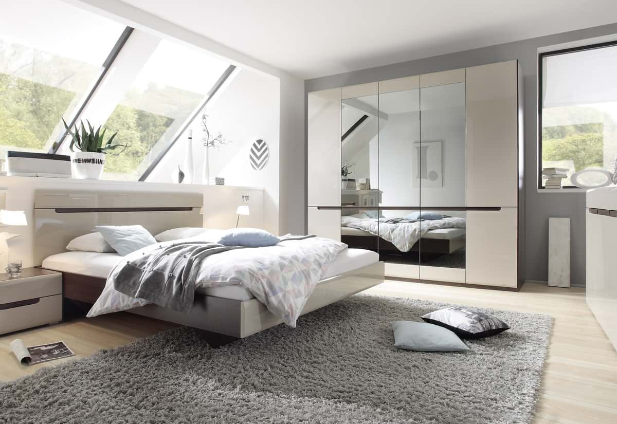 Ložnicová sestava ROTHEK - D - skříň (20), postel 180(32), 2x noční stolek(22), komoda(43), dub sonoma tmavý/kašmír lesk