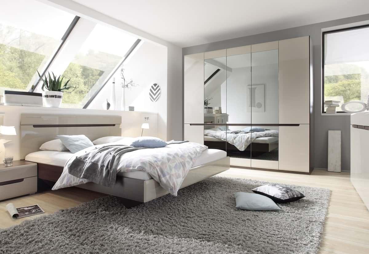 Ložnicová sestava ROTHEK - D - skříň (21), postel 160(31), 2x noční stolek(22), komoda(43), dub sonoma tmavý/kašmír lesk