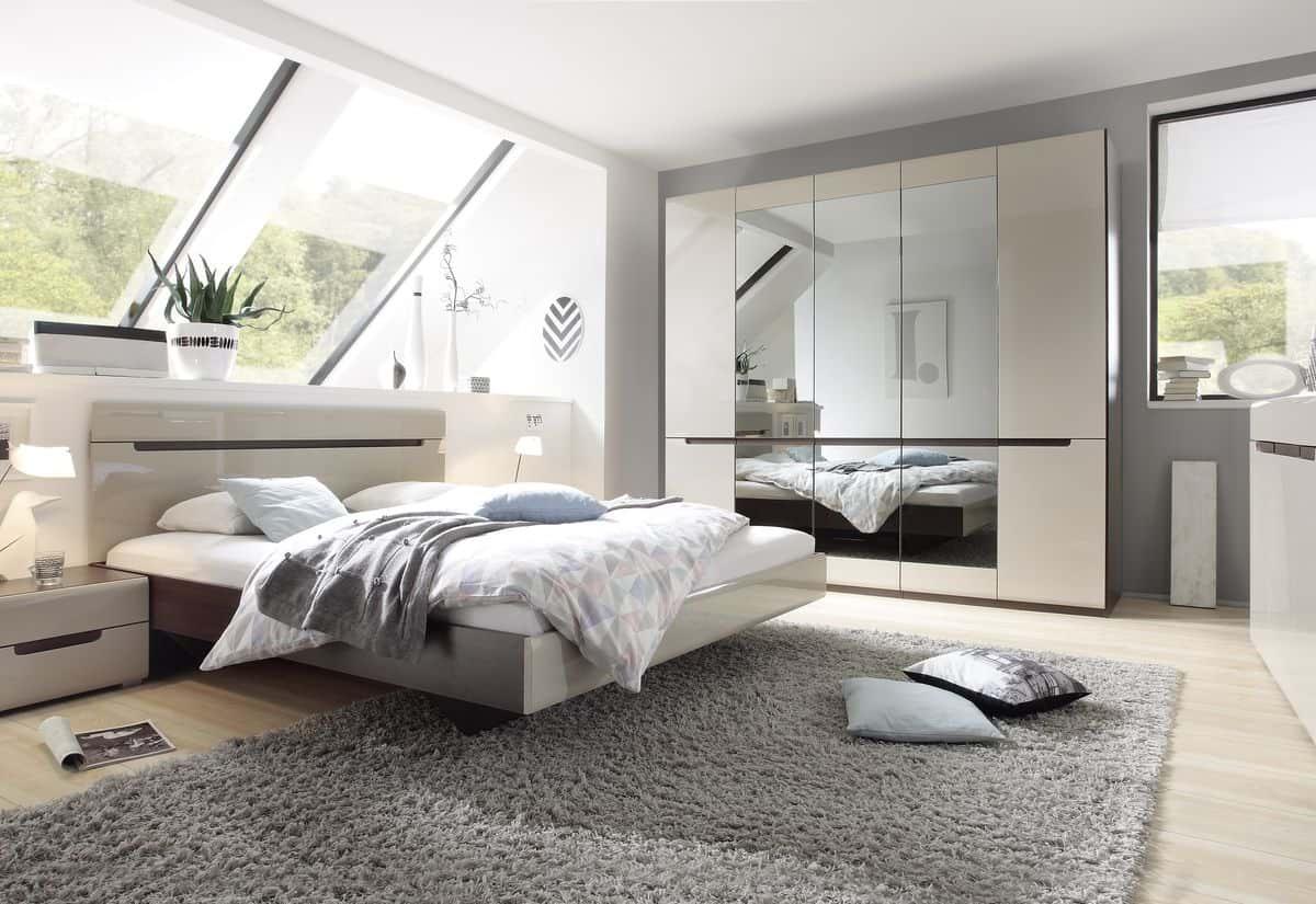 Ložnicová sestava ROTHEK - D - skříň (21), postel 180(32), 2x noční stolek(22), komoda(43), dub sonoma tmavý/kašmír lesk