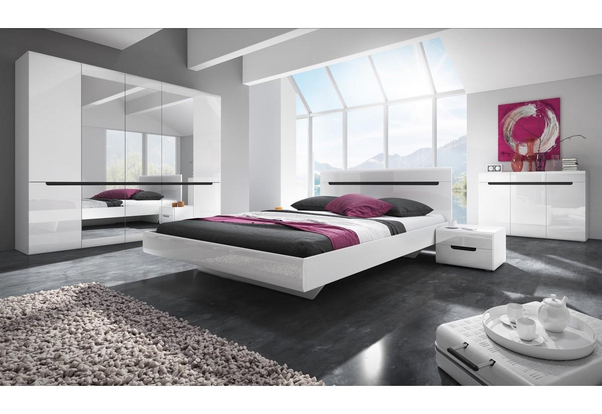 Ložnicová sestava ROTHEK - D - skříň(21), postel 180(32), 2x noční stolek(22), komoda(43), bílá/bílý lesk