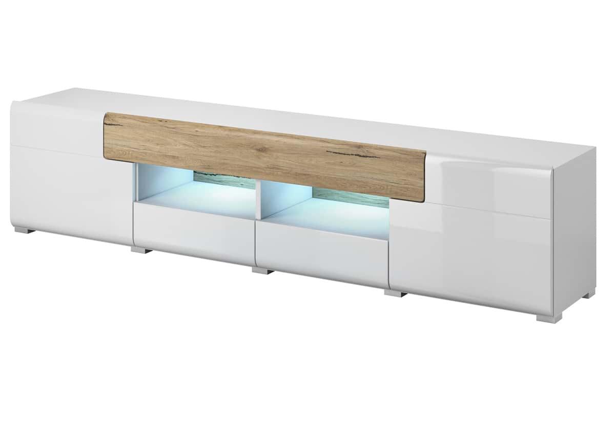 TV komoda+LED LEDOTO, bílá-dub san remo světlý/bílá lesk/dub san remo světlý