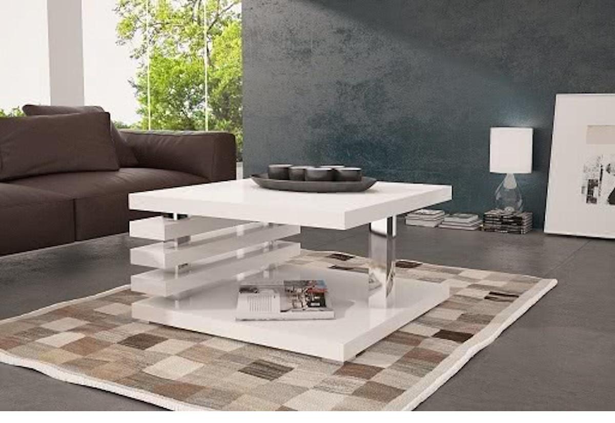 Konferenční stolek GUIDE, 60x31x60, bílý lesk