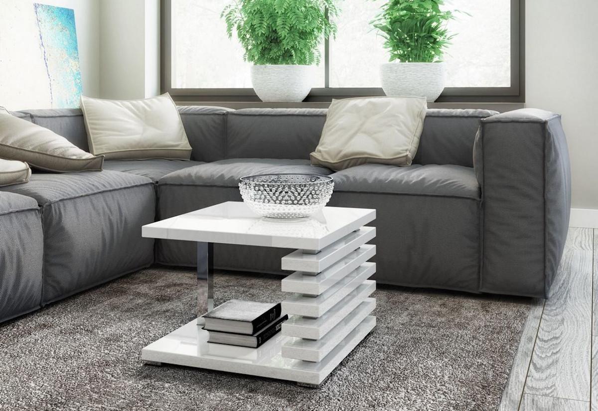 Konferenční stolek GUIDE, 60x44x60, bílý lesk