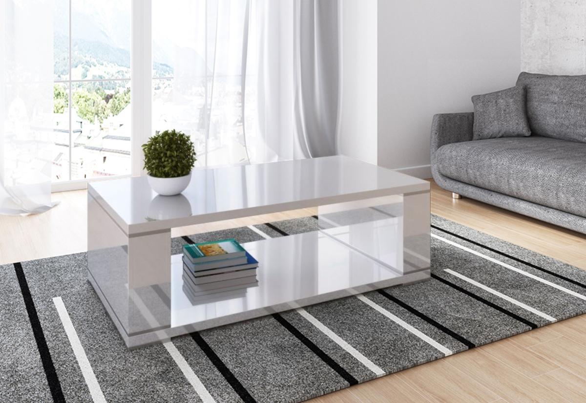 Konferenční stolek KAKI, 130x43x70, bílý lesk