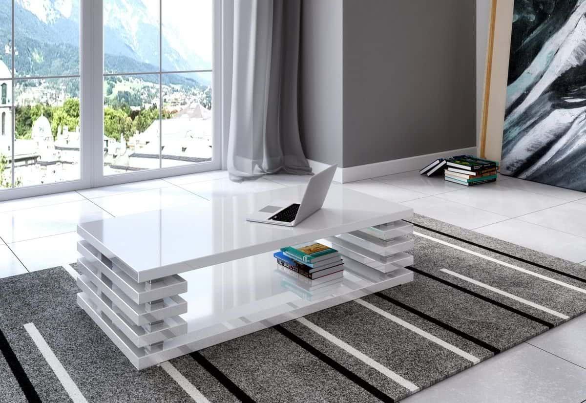Konferenční stolek DOURO, 120x31x60, bílý lesk