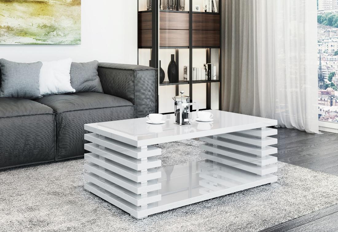 Konferenční stolek DOURO, 120x50,5x60, bílý lesk