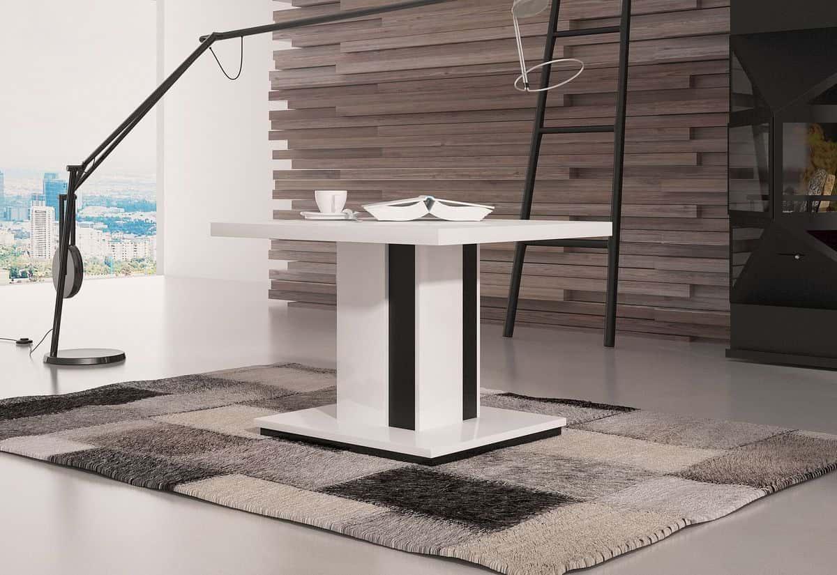 Konferenční stolek HAD, 70x50x70, bílý lesk/černý lesk