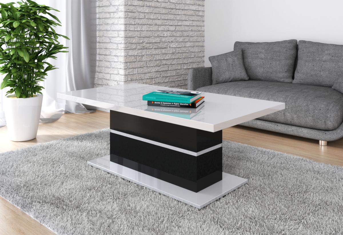 Konferenční stolek GAGA, 130x50x70, bílý lesk/černý lesk