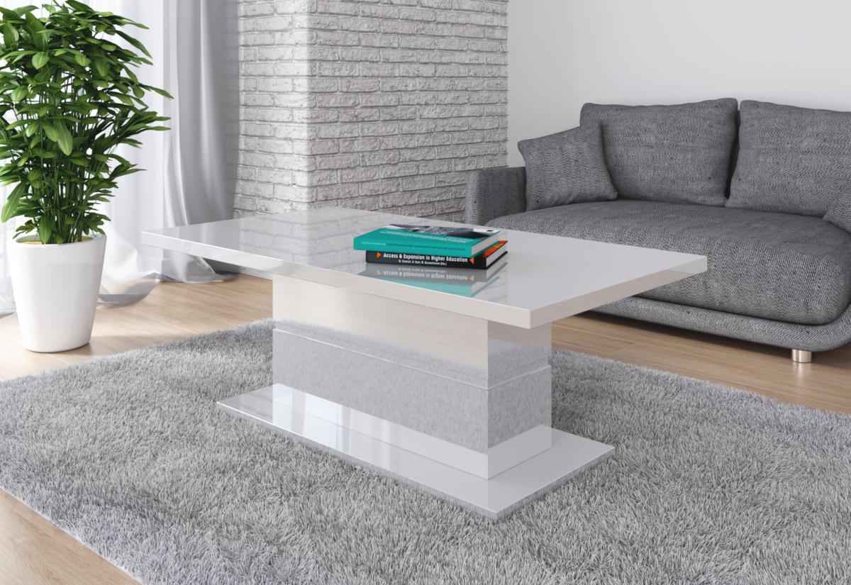 Konferenční stolek GAGA, 130x50x70, bílý lesk