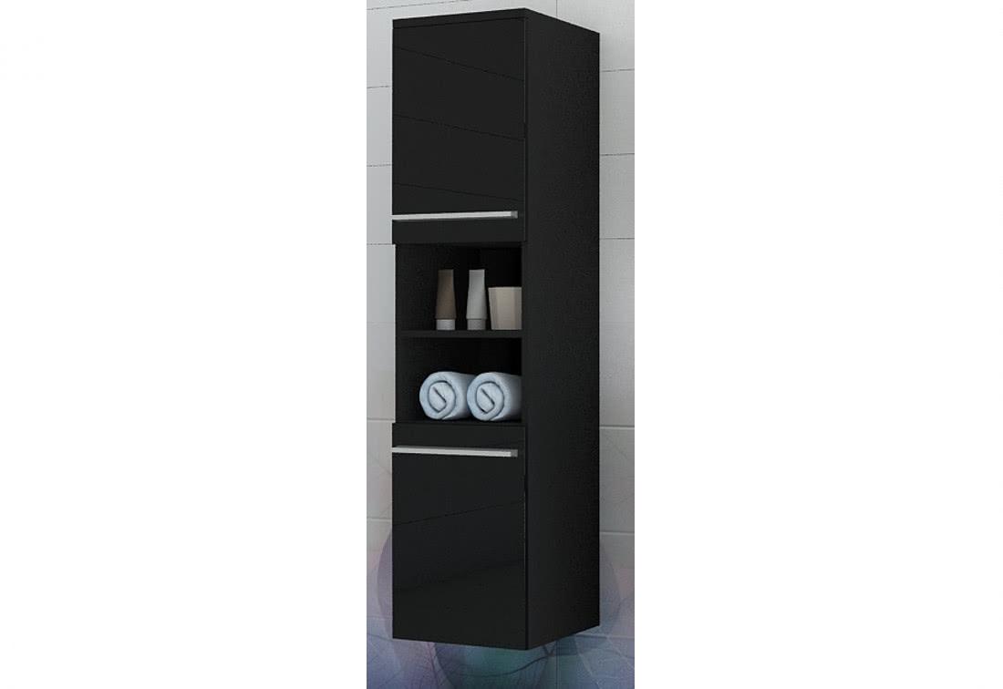 Závěsný koupelnový regál KOLI, 35x150x35, černý/černý lesk