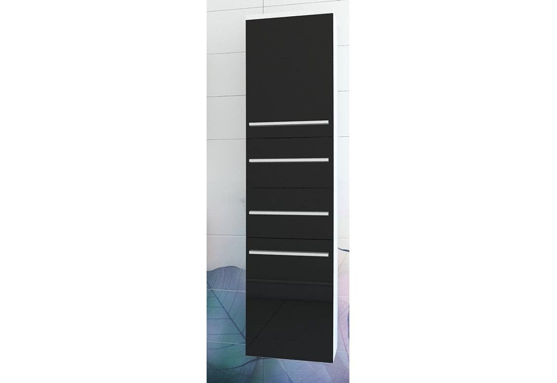 Závěsná koupelnová skříňka KOLI, 35x150x35, bílá/černý lesk