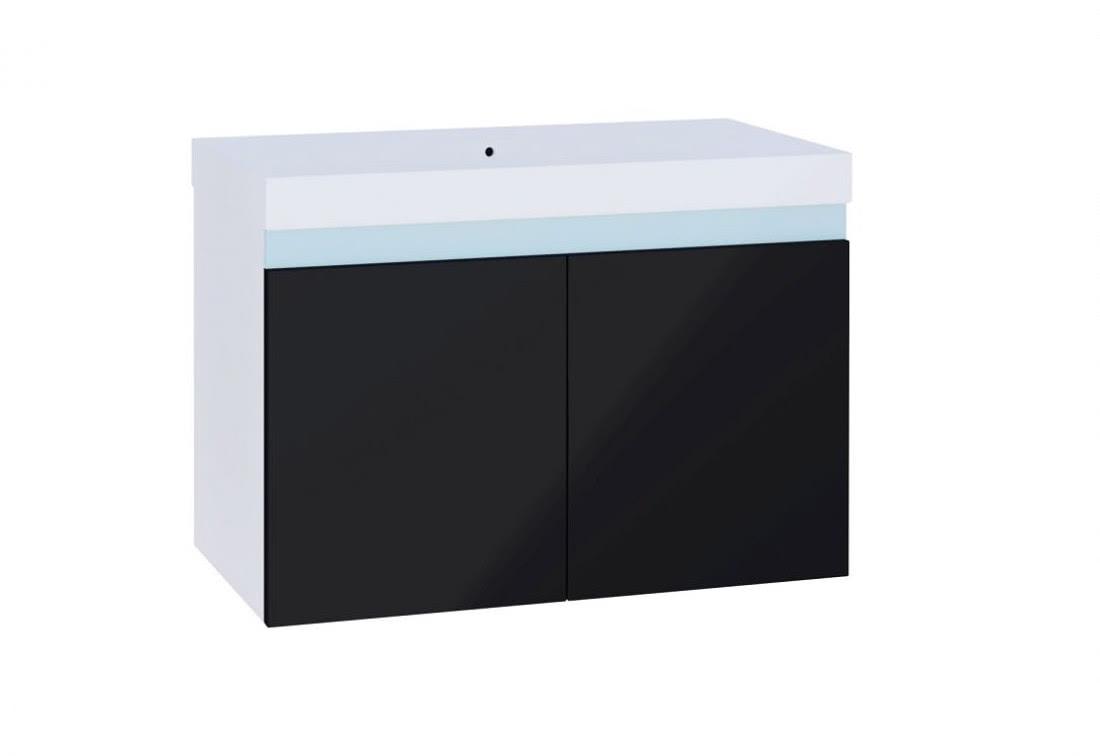 Koupelnová skříňka pod umyvadlo SIMBA, 80x50x40, bílá/černý lesk
