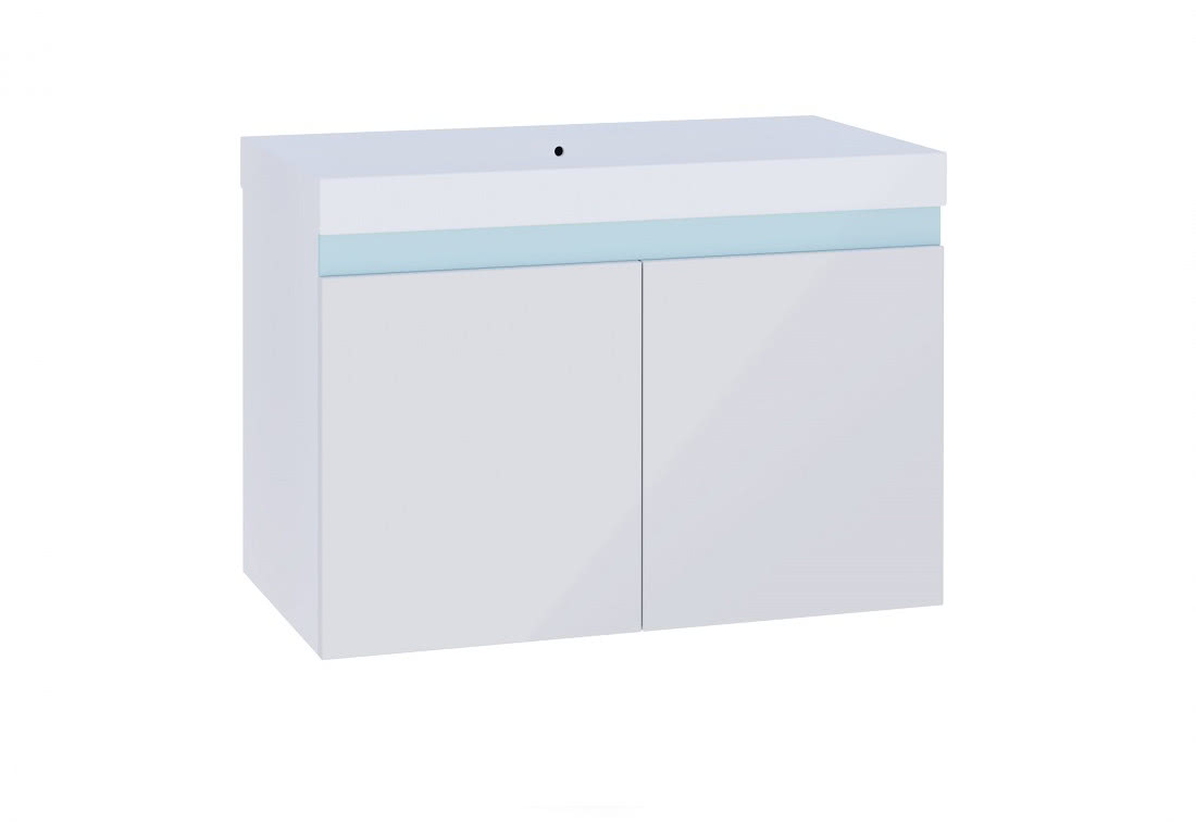 Koupelnová skříňka pod umyvadlo SIMBA, 80x50x40, bílá/bílý lesk