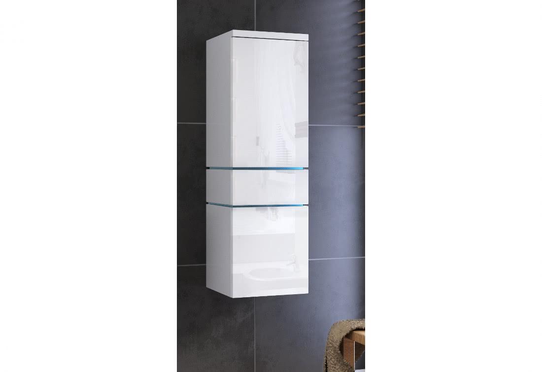Závěsná koupelnová skříňka TALUN - TYP 01 + LED osvětlení, 30x110x30, bílá/bílý lesk