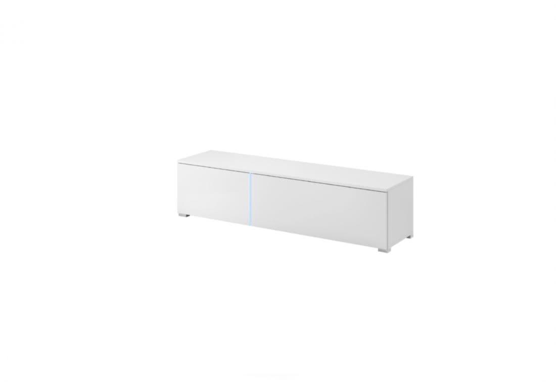 TV stolek MEMPHIS SRTV151 + LED, 151x34x37, bílý/bílý lesk