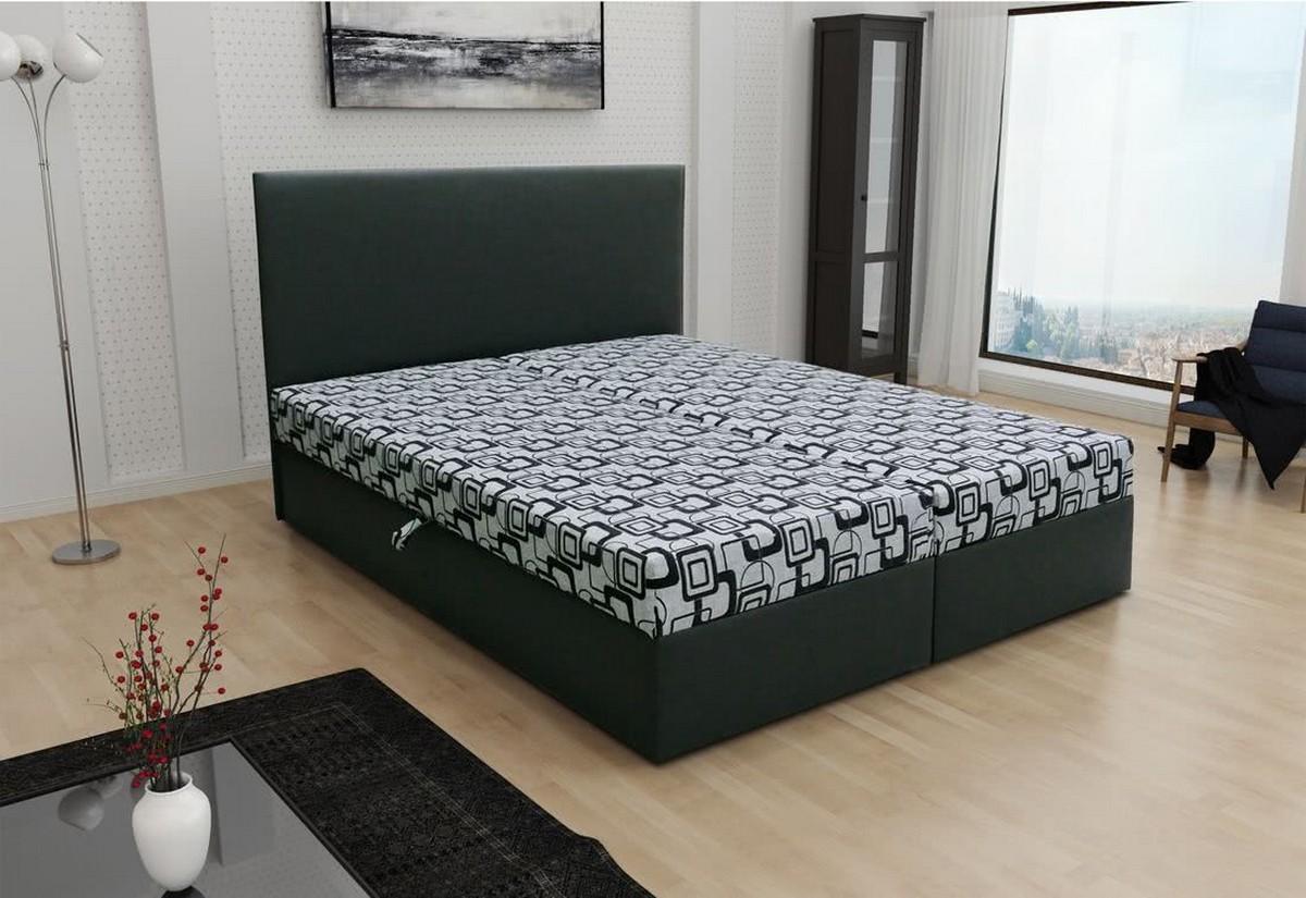 Manželská postel THOMAS včetně matrace, 140x200, Dolaro 8 černý/Siena šedý