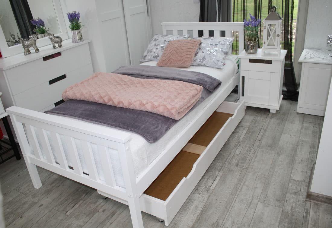 Jednolůžková postel SWAG, 120x200, bílá