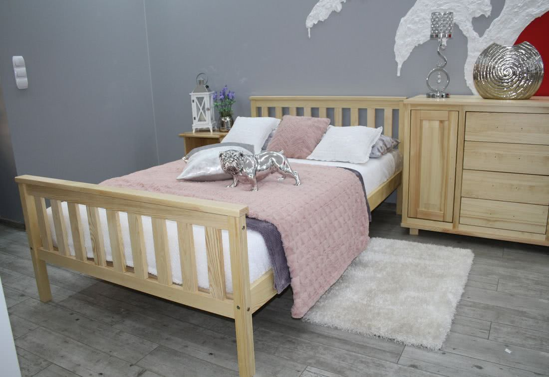 Manželská postel SWAG + rošt, 140x200, přírodní