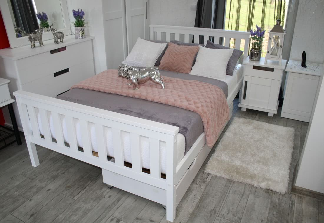 Manželská postel SWAG + rošt, 140x200, bílá