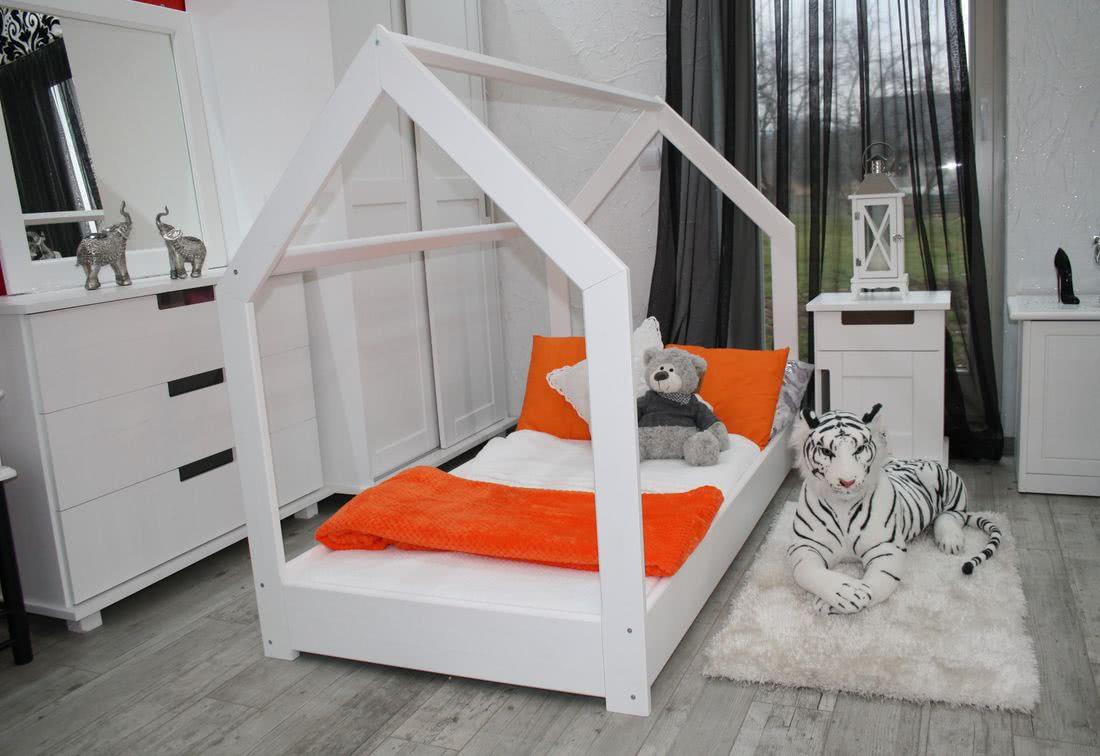 Dětská postel se stříškou ROOF, 80x160, bílá