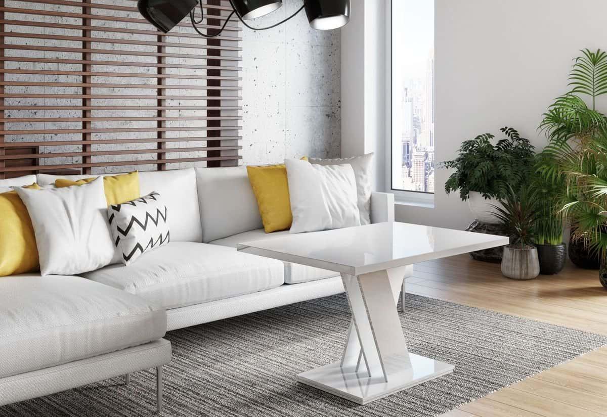 Konferenční stolek BLOK MINI, 120x60x60, bílý lesk