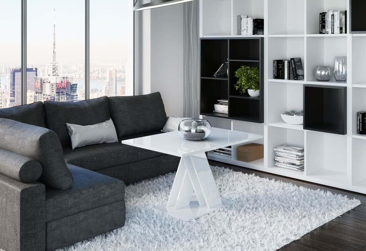 Konferenční stolek RONY MINI, 100x60x70, bílý lesk