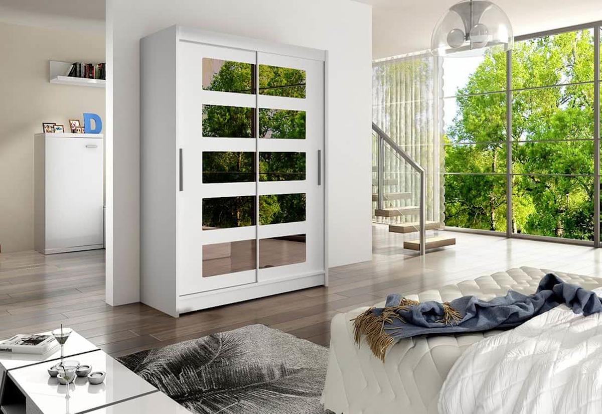 Posuvná šatní skříň STAWEN V se zrcadlem, 150x200x58, bílá mat