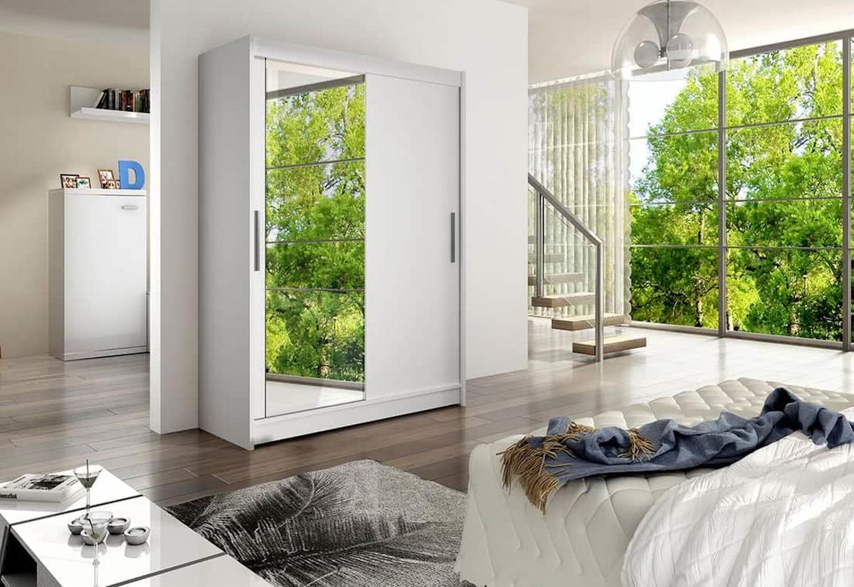 Posuvná šatní skříň STAWEN VI se zrcadlem, 150x200x58, bílá mat