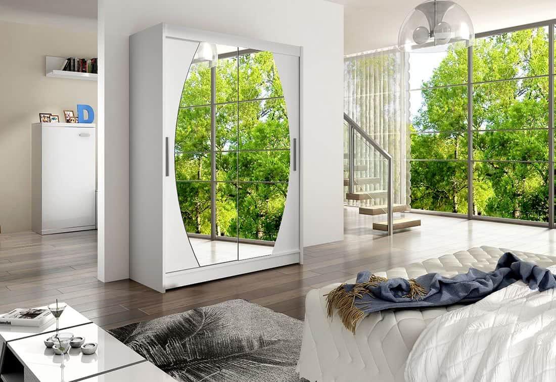 Posuvná šatní skříň STAWEN VIII se zrcadlem, 150x200x58, bílá mat