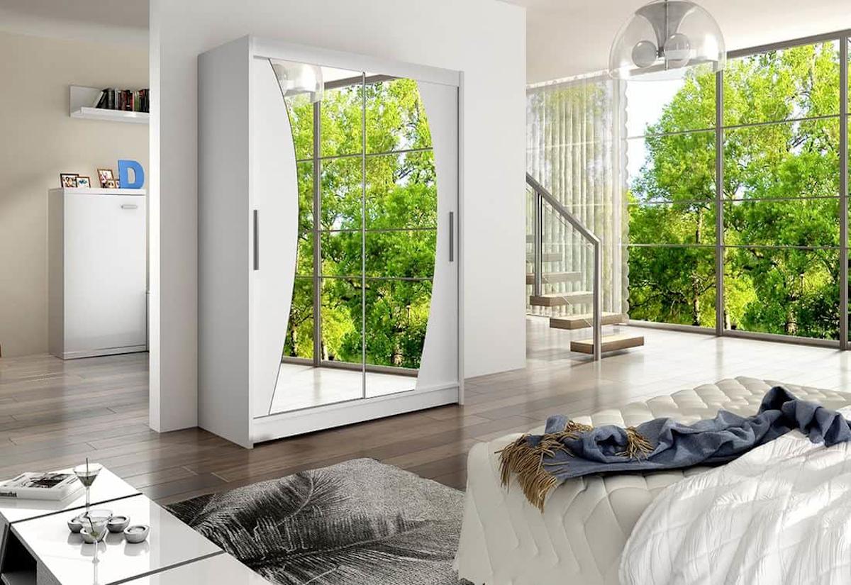Posuvná šatní skříň STAWEN X se zrcadlem, 150x200x58, bílá mat