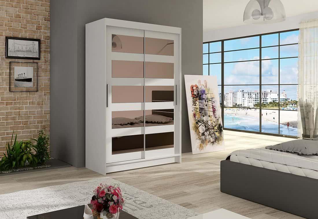 Posuvná šatní skříň FLORIA IV se zrcadlem, 120x200x58, bílá mat
