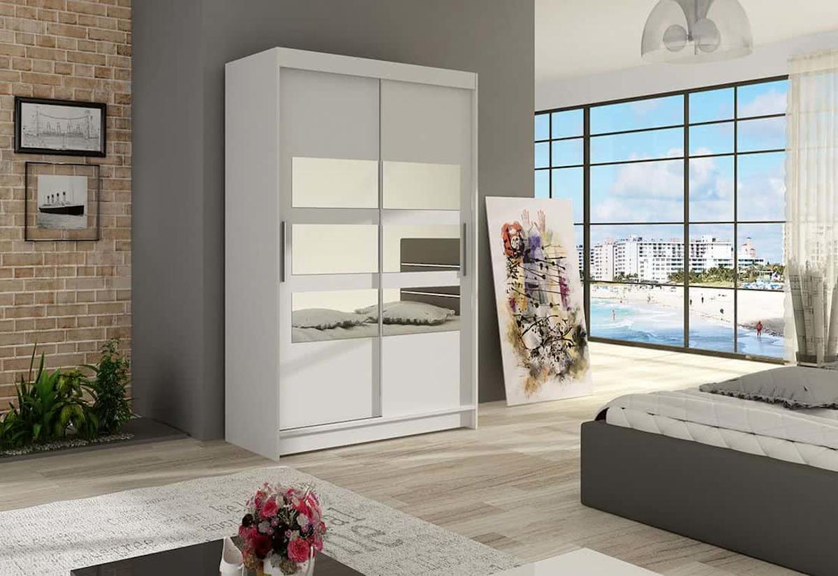 Posuvná šatní skříň FLORIA V se zrcadlem, 120x200x58, bílá mat