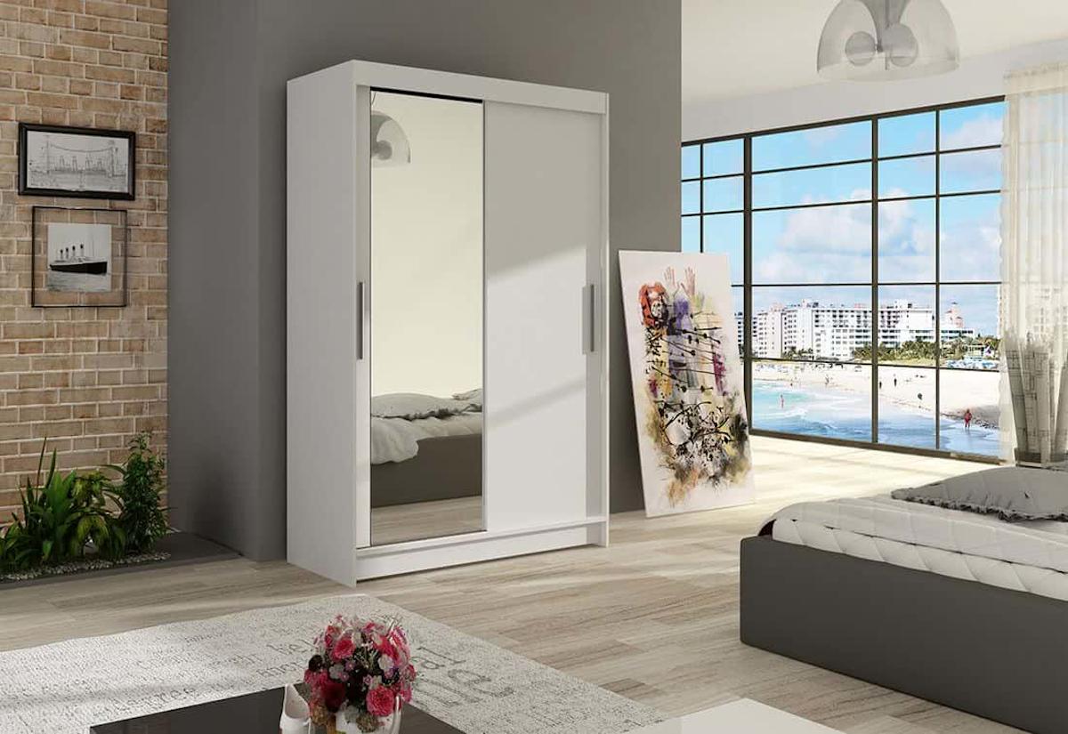 Posuvná šatní skříň FLORIA VI se zrcadlem, 120x200x58, bílá mat
