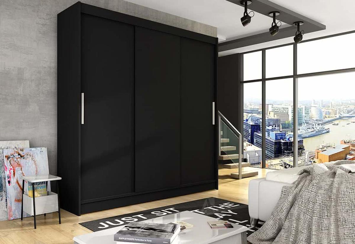 Posuvná šatní skříň LUKAS II, 250x215x58, černá mat