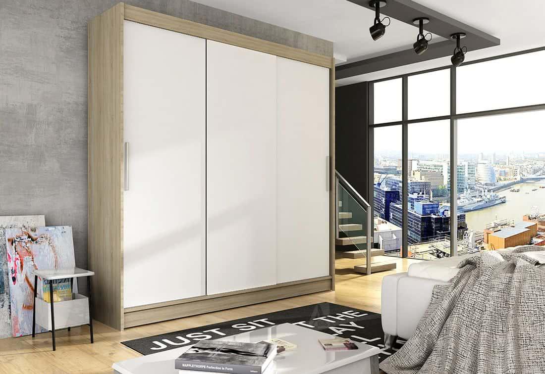 Posuvná šatní skříň LUKAS II, 250x215x58, Sonoma/bílá mat