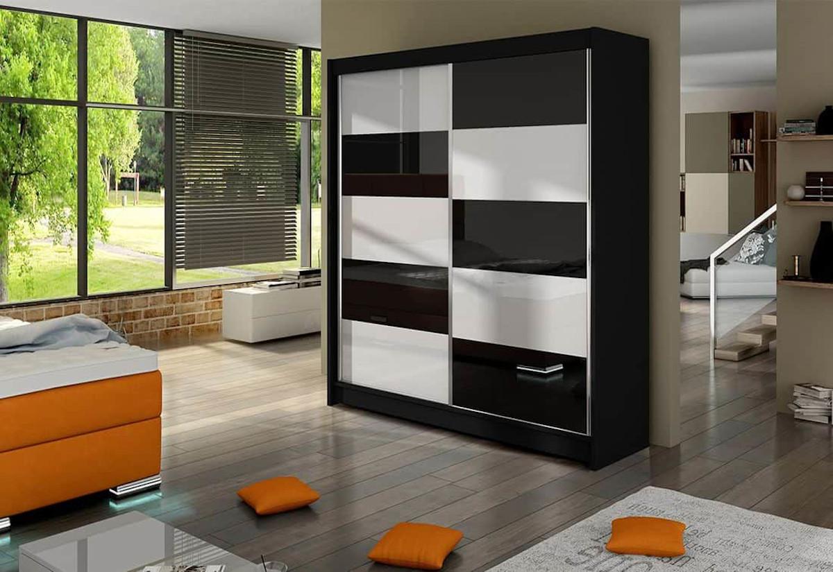 Posuvná šatní skříň ANTAX II, 180x215x58, černá/černá lesk-bílá lesk
