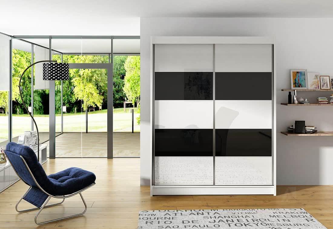 Posuvná šatní skříň ROTE IV, 150x200x58, bílá/bílá-černá